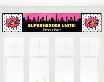 Girl Superhero Party Banner - Custom Baby Shower and Birthday Party Decorations