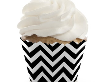 Chevron Black and White Cupcake Wrappers - Baby Shower, Birthday Party, or Bridal Shower Party Cupcake Decorations - Set of 12
