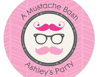 24 Pink Mustache Bash Circle Stickers - Personalized Baby Shower and Birthday Party DIY Craft Supplies