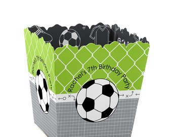 Soccer Custom Small Candy Boxes - Personalized Baby Shower or Birthday Party Supplies - Set of 12
