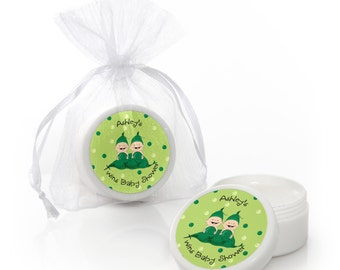 Two Peas In A Pod Lip Balm Party Favors - Baby Shower and Birthday Party Supplies - 12 Count