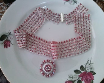 HandMade Royal Necklace Red and white beads swarovski Cabochon center