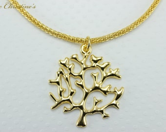 Jillian - golden Tree of Life inspired pendant, on 17+ inch golden mesh necklace weighing 13 grams. Pendant hangs 1.75 inches. - TZN050176