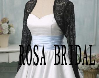 Black lace bolero jacket shrug, Bridal black lace long sleeve Jacket, Wedding black lace jacket, bolero jacket lace shrug Custom Size
