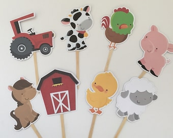 Farm cupcake toppers/Farm Toppers/Farm Party/Boy Party/Girl Party/First Birthday