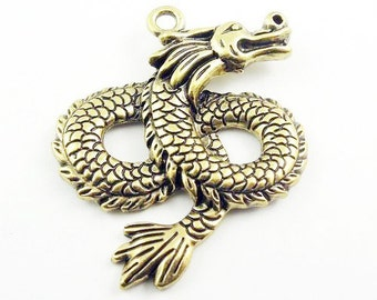 1 Bronze Dragon Charm Pendant Fantasy Medieval Very Large Charms 107A