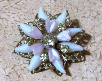 Lovely Vintage White and Lavendar Rhinestone Crystal Star or Flower Brooch