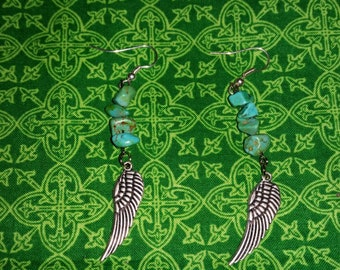 Turquoise dyed Howlite with Feather Earings