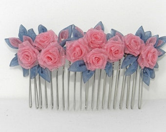 "Tsumami Kanzashi Comb ""Rose and Gray"""