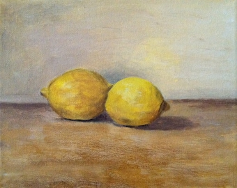 "Original Acrylic Still Life Painting ""Lemons"""