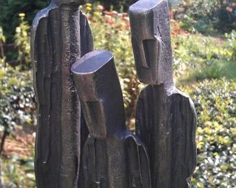 People - hand forged metal sculpture, symbolizing a family. Metal art. Garden art. Christmas gift.