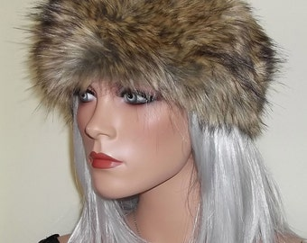 Long Haired Brown Fur Headband made in Soft Faux Fur