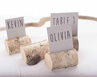 100 pieces rustic birch place card holders, Wedding card holders, name card holders, wooden place card holders, wooden holder with bark