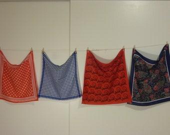 Vintage Bandannas in four different designs! Choose one or choose them all! 1980's fun Bandannas!