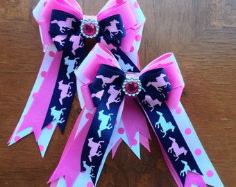 Pony Girl Hair Bows/Pink sparkle, blue equestrian clothing gift