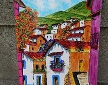 Wonderfully Vibrant Large Handpainted Ceramic Tile from Mexico!