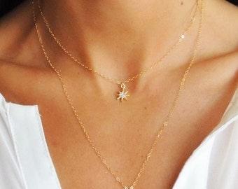 STARBRITE NECKLACE - 14k Gold Filled Celestial Starburst Necklace tiny minimal star necklace on delicate gold chain