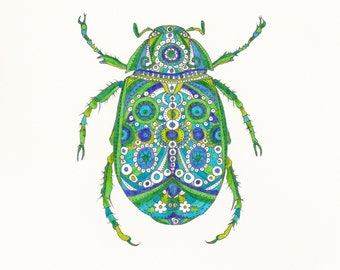 Beetle - a giclee print of an original drawing.