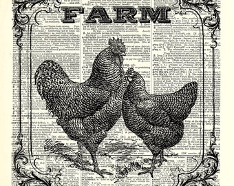 Farm Chickens kitchen art print. Vintage dictionary page art print. Print on book page.