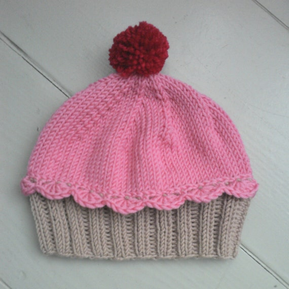 Knitting Pattern Cupcake Beanie : Items similar to Knitted cupcake baby hat, handmade girl ...