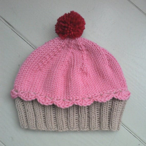 Knitted Cupcake Hat Pattern : Items similar to Knitted cupcake baby hat, handmade girl hat, knit merino bab...