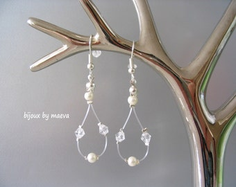 Wedding Bridal Jewelry earrings drop shaped ivory and transparent beads