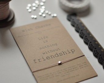 Friendship Card- Sterling silver- Friendship Bracelet- Wish Bracelet- BFF- Best Friend Card- Friend Card- Greeting Card- Card For Friend-