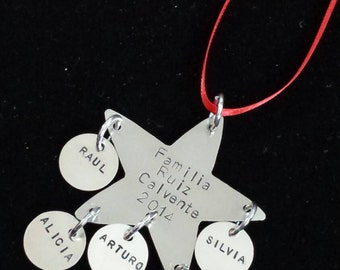 Hand Stamped Nickel Silver or Brass Christmas Ornament for Families of 2, 3, 4, 5 or 6 or 8 with Pets Included!