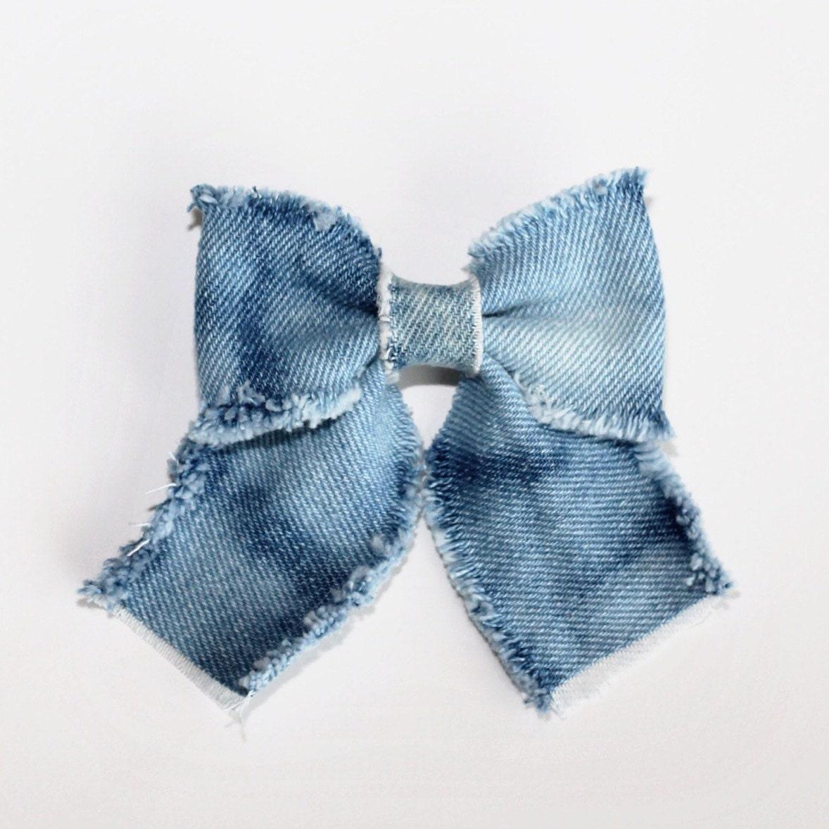 bow tie denim bow acid washed denim bow
