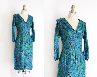 vintage 1950s dress // 50s blue silk evening dress