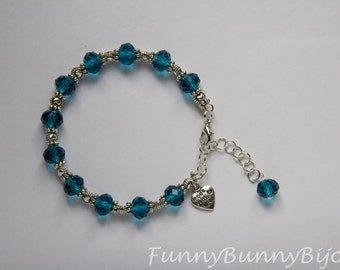 Semi-rigid bracelet with Crystal beads petrol blue
