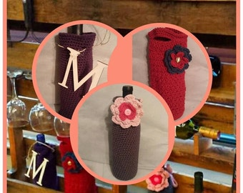 Crochet Wine Tote, Crochet Wine Cozy, Housewarming Gift, Bridal Shower Gift, Wine Bottle Cover