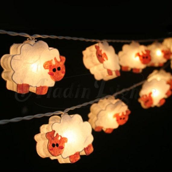 Lantern String Lights Bedroom : Sheep Lantern Fairy string lights party kid bedroom home child