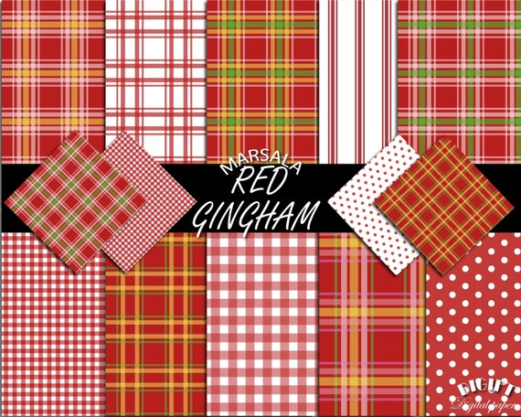 Maroon Red Gingham digital paper square Red gingham party Red gingham fabric print Red gingham invitation Gingham sheets Red gingham banner