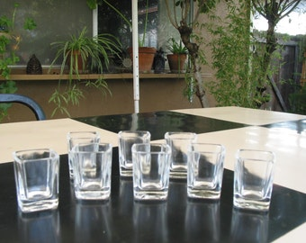 Vintage Square Shot Glasses Set of Eight