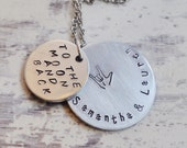 To the moon and back - ASL I love you - Hand stamped mothers necklace - Personalized jewelry - Hidden message necklace - ASL jewelry