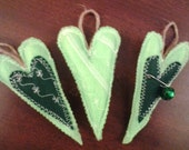 Set of 3 new handmade green primitive St. Patrick's Day tree ornaments, decorations