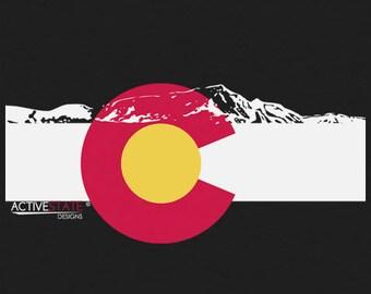 Men's Colorado Flag w/ Rocky Mountain Silhouette