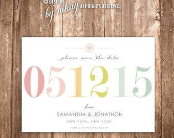 Modern Typography Save the Date Card! PRINTABLE Save the Date can be personalized! DIY. Choose Color and Design for your wedding!