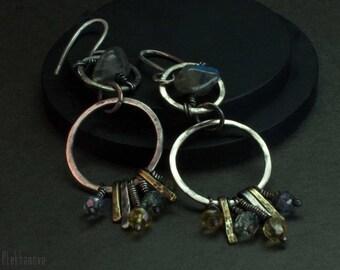 Labrodorite earrings. Sterling silver earrings.  Tourmaline earrings.