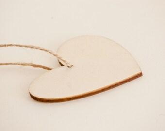 Wooden hearts -  Wooden heart tags - Wedding decor - Small wooden heart set of 10 - Wooden heart blanks - Hanging hearts