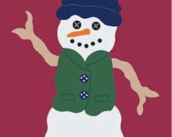 Folk Snowman Handcrafted Applique House Flag