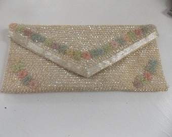 SALE Vintage 60's Beaded Clutch