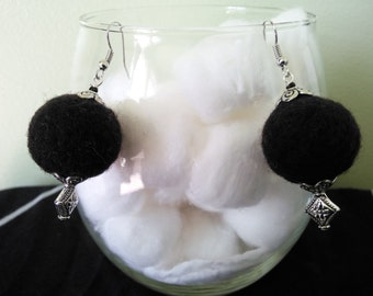 needle felted earrings, round shaped earrings,round jewelry,black earrings, round black jewelry,black wool jewelry,black earrings.