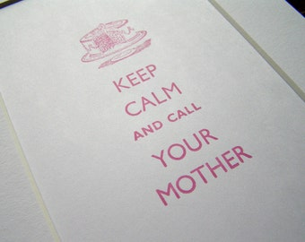 Hand-printed letterpress mounted print - Keep calm and call your mother