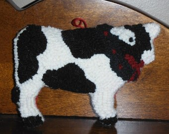 Folk Art Hand Hooked Cow Christmas Ornament