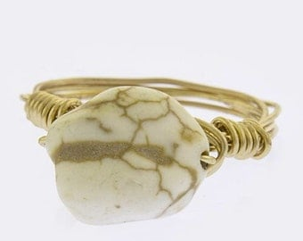 Ivory stone wire wrapped ring size 7