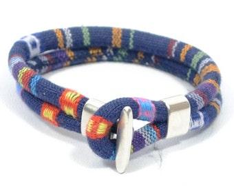 blue woven bracelet, blue ethnic bracelet, men women bracelet, fabric and zamak bracelet, anniversary gift, gifts for men women