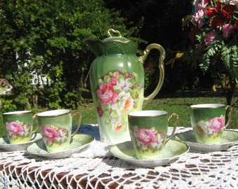 Antique hand painted Nippon Chocolate set.