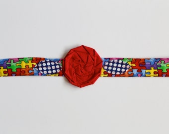 Autism Awareness - Fabric Flower Headband